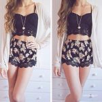 Crop top and floral shorts