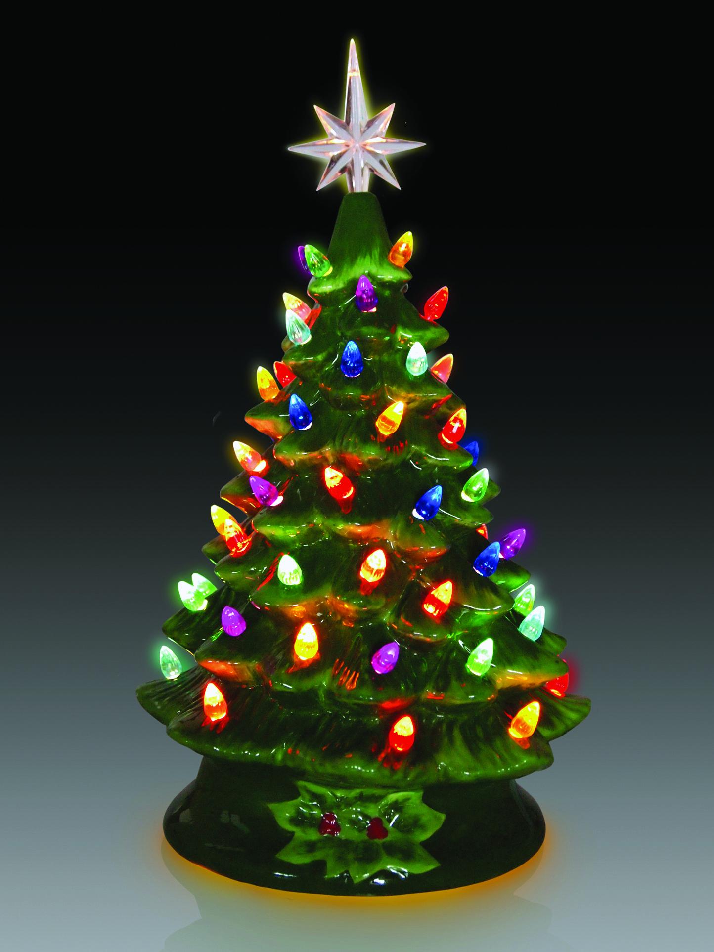 retro 15 ceramic green christmas tree - Ceramic Light Up Christmas Tree