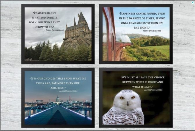 photograph relating to Harry Potter Printable Posters titled Harry Potter Prints - Wall Artwork - Decor - Poster - 4 Established Pack