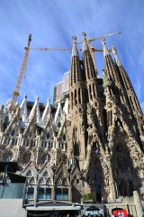 The outside of La Sagrada Familia. You can see the cranes still working on the construction