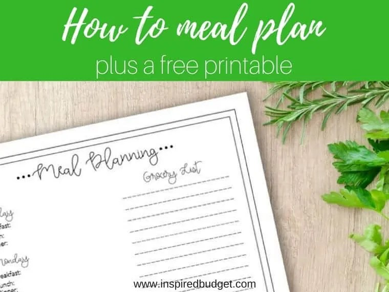 meal plan by inspiredbudget.com
