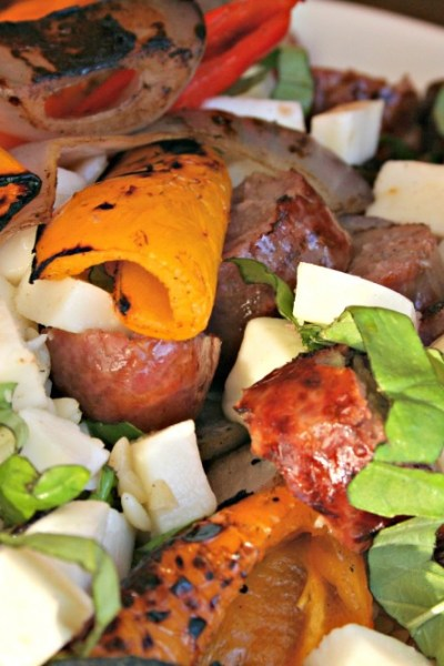 Grilled Sausage with Peppers & Orzo