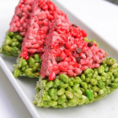 Simple Summer Dessert: Watermelon Rice Krispie Treats