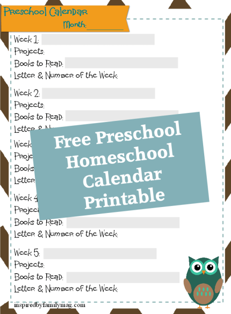 homeschool preschool calendar printable