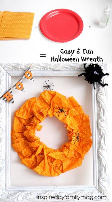 easy halloween wreath paper plate craft