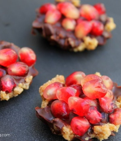 Dark Chocolate Pomegranate Tarts {Gluten Free & No Bake}