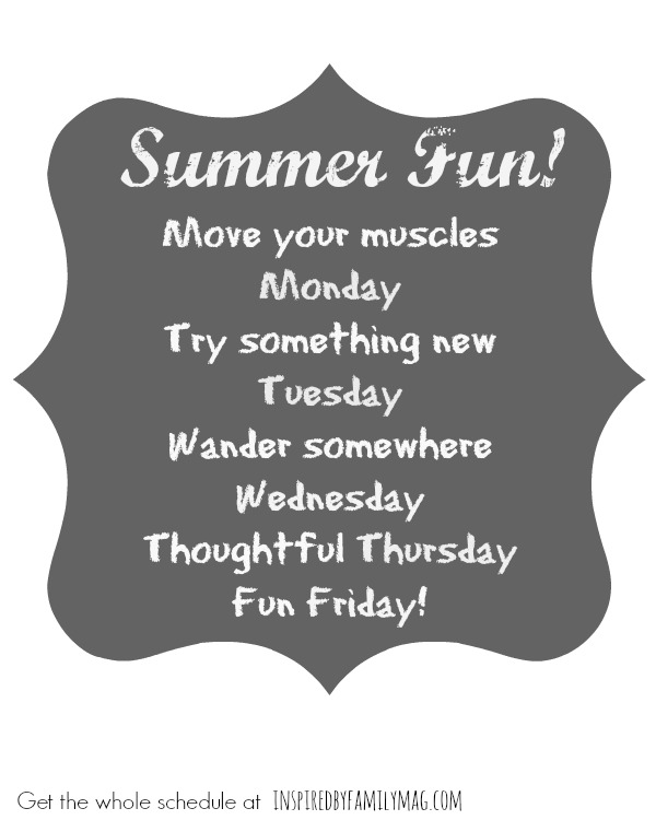Summer Fun schedule 2