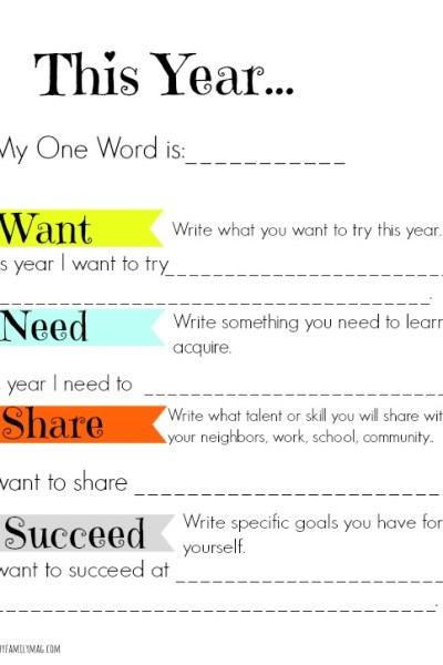 Family Activity: Simple New Year's Goals Printable