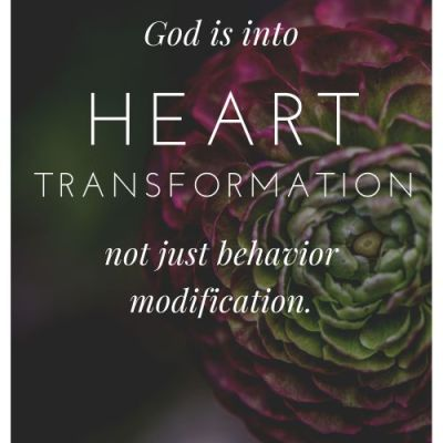 God is Into Heart Transformation Not Behavior Modification In Our Children