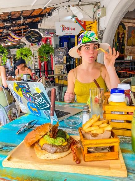 The burger at Cafe San Angel