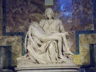 Michelangelo's Pieta - This gorgeous depiction of Mary holding her son after he was taken down from the cross was in St. Paul's basilica.