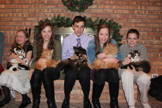 The Fabulous Five with their Fabulous Five Cats!