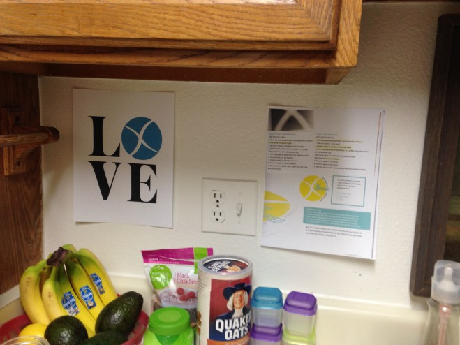 My Diet/lifestyle guidelines pinned up to keep me on track along with the Xtend Love logo