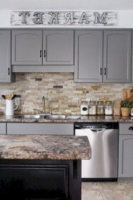 70+ Amazing Farmhouse Gray Kitchen Cabinet Design Ideas 52