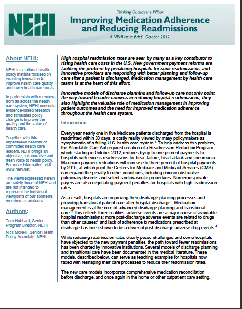 NEHI Issue Brief, October 2012 – Improving Medication Adherence and Reducing Re-admissions