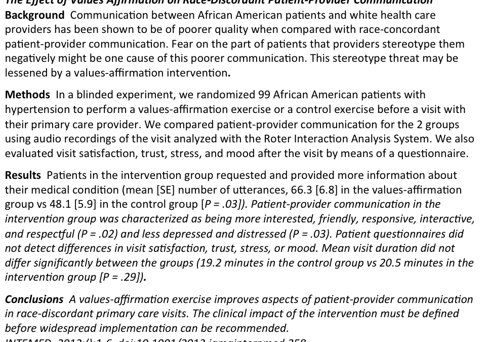 From the Archives of Internal Medicine: Values exercise improves doctor-patient communication