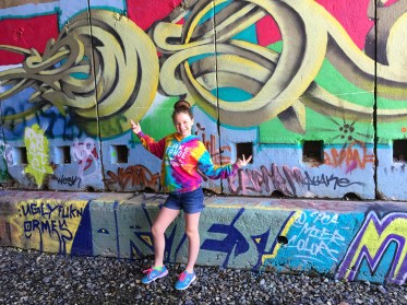 Natalie Bourn In Donner Summit Railroad Tunnel With Graffiti