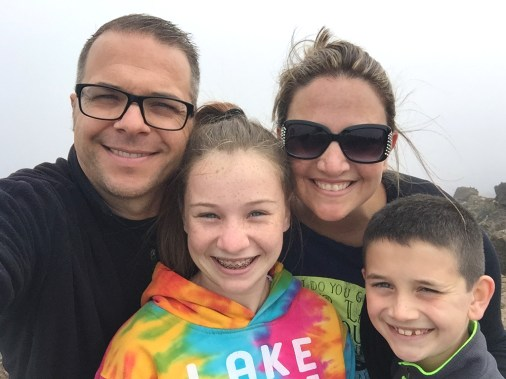 Family Hiking at Haleakala Summit in Maui Hawaii