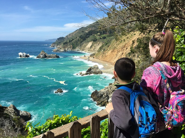 View of the Big Sur California Pacific Coastline From The McWay Falls Overlook Trail