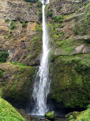 Multnomah Falls is a waterfall on the Oregon side of the Columbia River Gorge