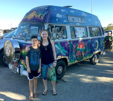 Natalie and Carter with the Amethyst Bus on Shakedown Street