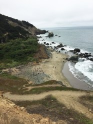 View of Mile Rock Beach from Eagles Point in Lands End San Francisco
