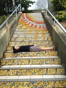 San Francisco 16th Avenue Tiled Steps Sunshine Theme Mosaic