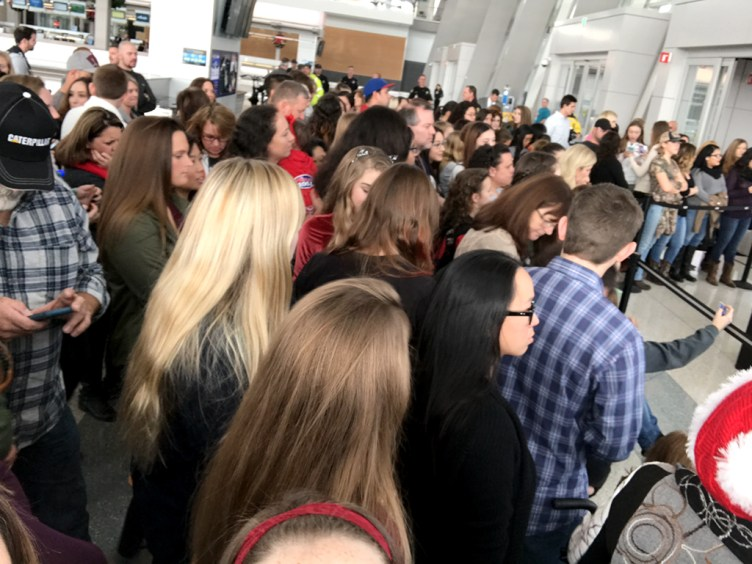 Crowd of People Waiting for the Free St. Jude Benefit Concert in Terminal B at The Sacramento International Airport