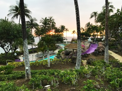 Sunset Over the Water Slides at the Hilton Waikoloa Village