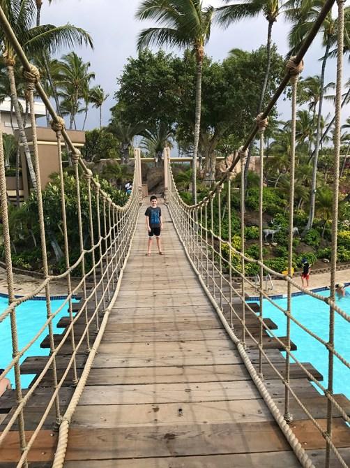 Wooden Suspension Bridge over the Hilton Waikoloa Pools