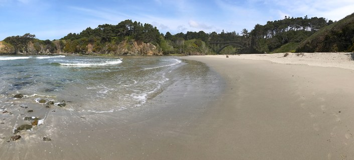The Beach at Jug Handle State Natural Reserve with a Concrete Arch Bridge Passing Over Jug Handle Creek