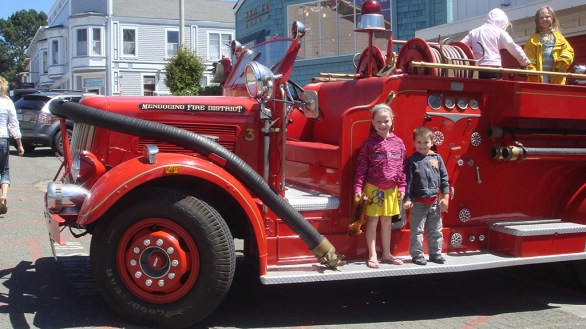 Natalie and Carter Visiting the Mendocino Fire Department