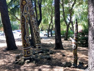 Painted Posts at the Stanford University Papua New Guinea Sculpture Garden