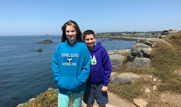 Natalie and Carter Bourn at the Battery Point Lighthouse