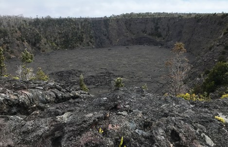 Dried Black Lava Surrounding Keanakāko'i Crater in Hawaii