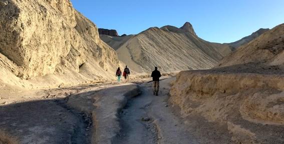 Family Hike through Golden Canyon Death Valley