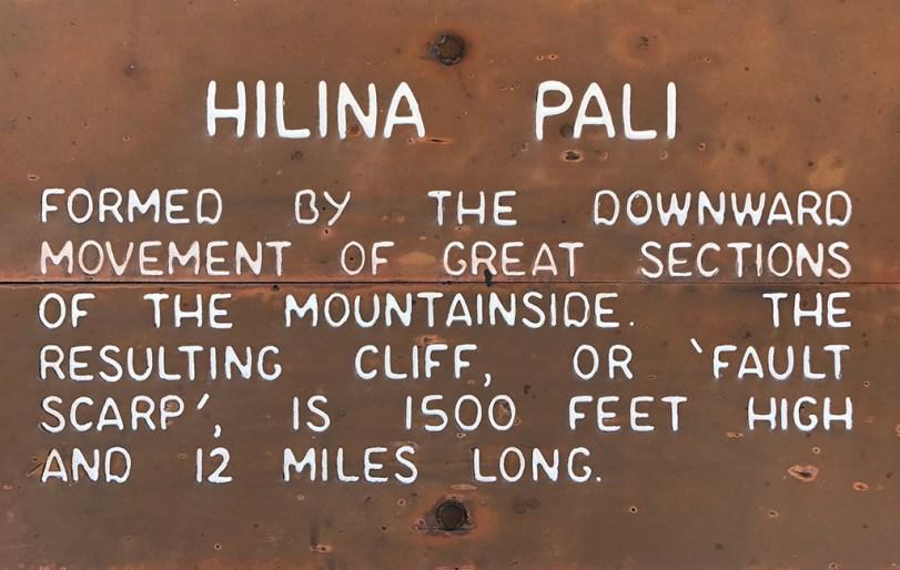 Hilina Pali Sign in Hawaii Volcanoes National Park