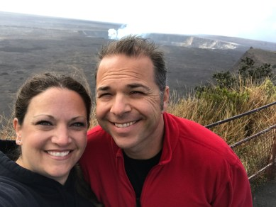 Jennifer and Brian Bourn at the Kilauea Overlook Pullout on Crater Rim Drive