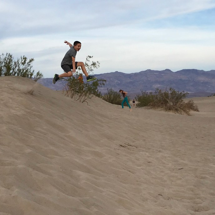 Jumping Down Sand Dunes in Death Valley