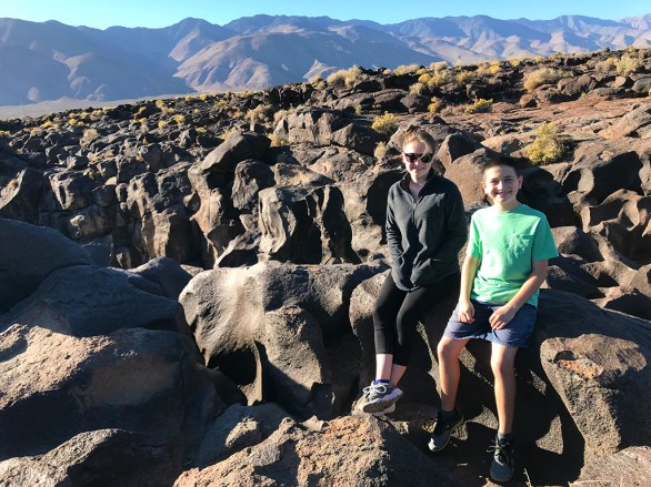 Natalie and Carter Bourn Sitting atop Fossil Falls