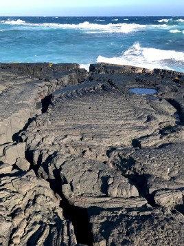 Volcanic Lava Cliffs at Punalu'u Black Sand Beach Park