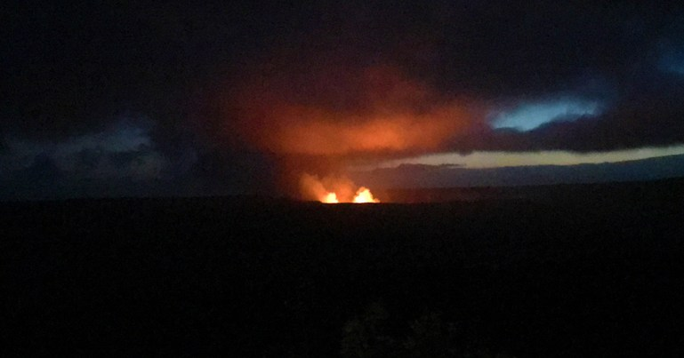 Watching Kilauea Eruption from Volcano House Restaurant