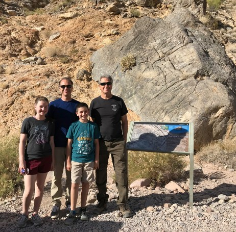 Bourn Family Visiting the Death Valley Petroglyphs