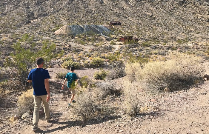 Brian and Carter Bourn Exploring the Leadfield Ghost Town on Titus Canyon Road