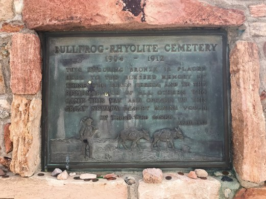 Bullfrog Rhyolite Cemetary Plaque