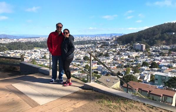 Brian and Jennifer Bourn walking around Turtle Hill in San Francisco