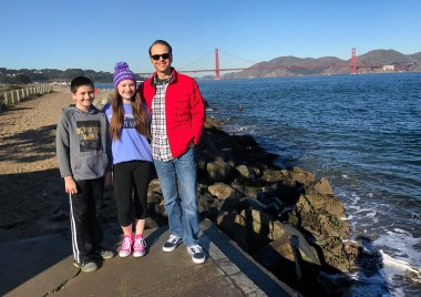 Carter, Natalie, and Brian Bourn on the Crissy Field Beach Trail