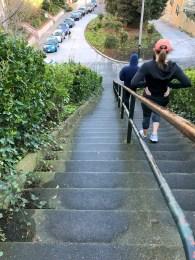 Descending the Lyon Street Steps Steep Lower Section