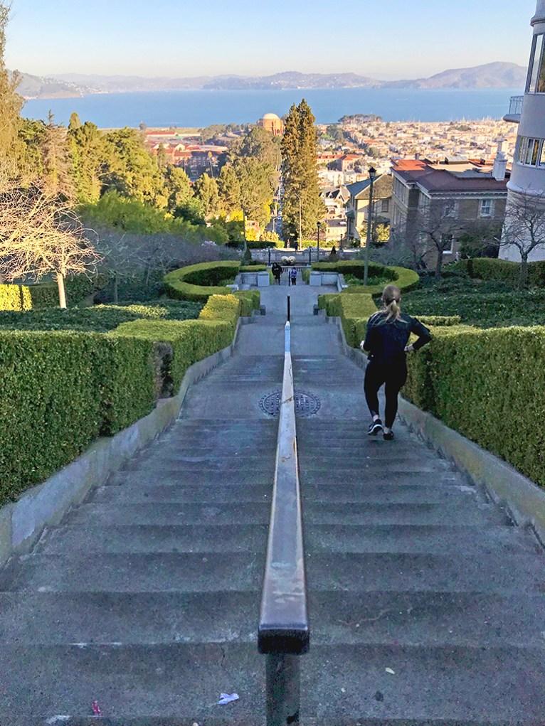 Descending The Upper Section Of The Secret San Francisco Lyon Street Staircase