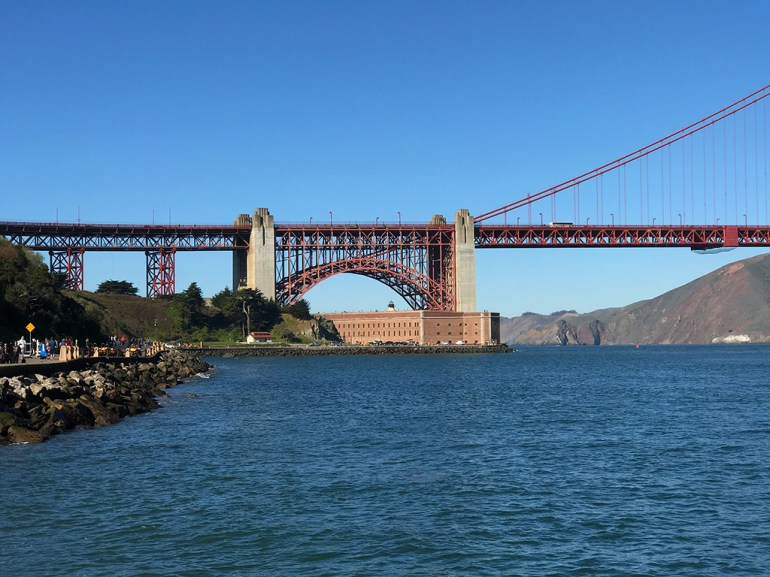 View of Fort Point Under the Golden gate Bridge From The Crissy Field Warming Hut